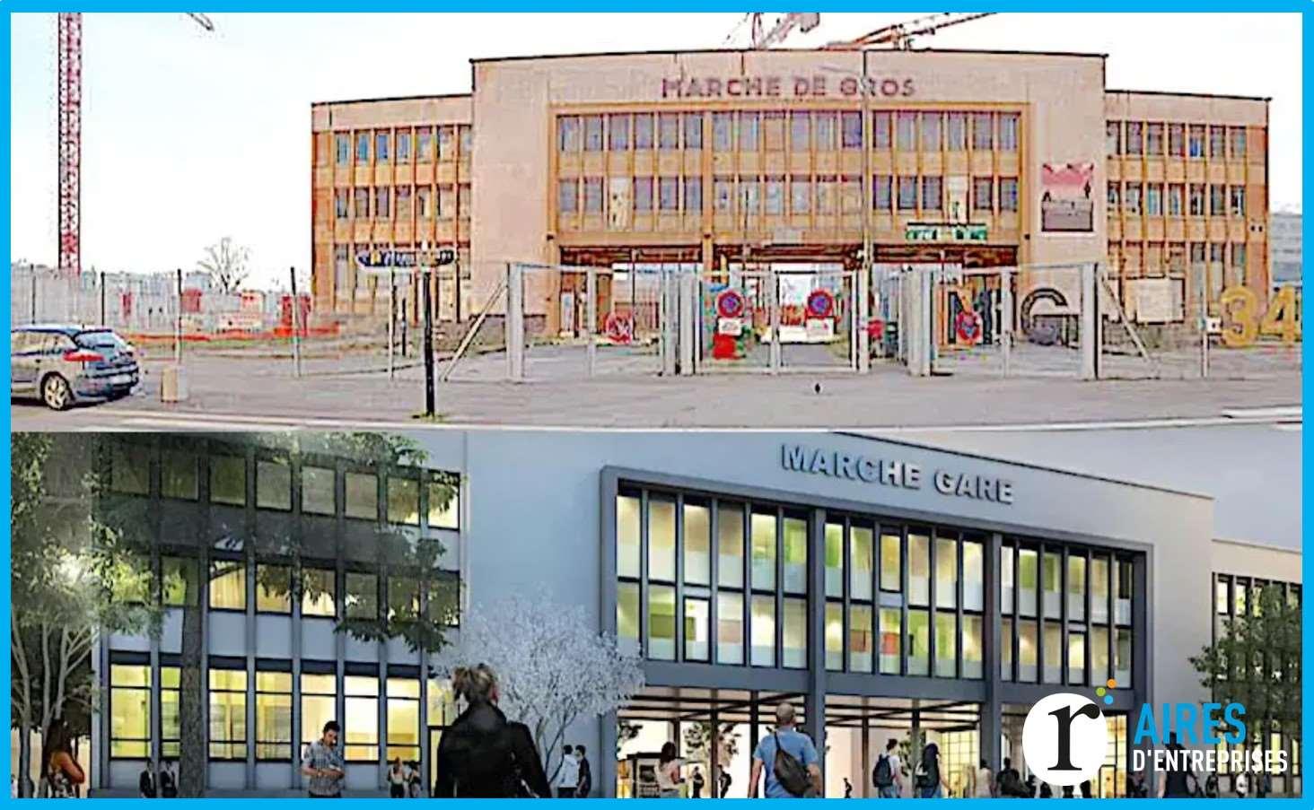 """Lyon-Confluence - Construit dans les années 60, et surmonté des mentions """"Marché de gros"""", l'ancien porche qui marquait l'entrée des anciennes halles de Lyon (marché-gare) va bientôt trouver un nouveau rôle..."""